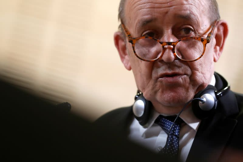 FILE PHOTO: Spanish Foreign Minister Gonzalez Laya meets with French Foreign Minister Le Drian, in Madrid