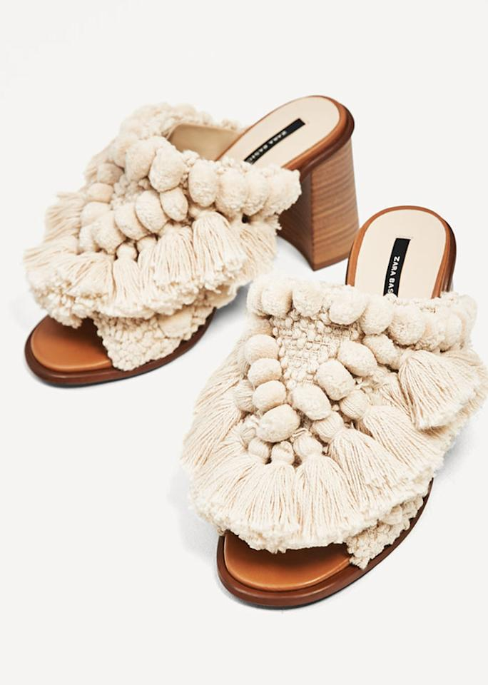 "Zara High Heel Slides with Pompoms, $89.90; at <a rel=""nofollow"" href=""http://www.zara.com/us/en/woman/shoes/view-all/high-heel-slides-with-pompoms-c719531p4224001.html"">Zara</a>"