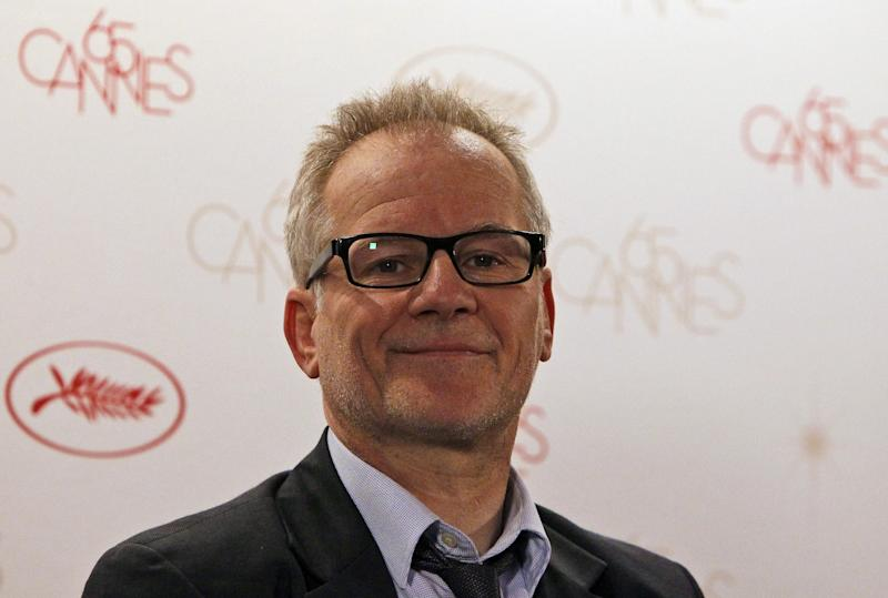 Cannes Film Festival artistic Director Thierry Fremaux attends a press conference for the upcoming 65th edition of the festival during a press conference in Paris, Wednesday April 19, 2012. The festival will run from May 16 to 27, 2012.(AP Photo/Francois Mori)