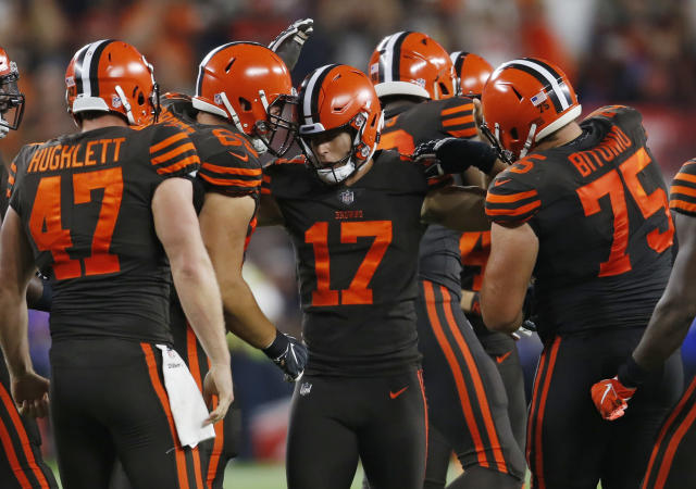 Cleveland Browns kicker Greg Joseph (17) is congratulated by teammates after making a 45-yard field goal during the first half of an NFL football game against the New York Jets, Thursday, Sept. 20, 2018, in Cleveland. (AP Photo/Ron Schwane)