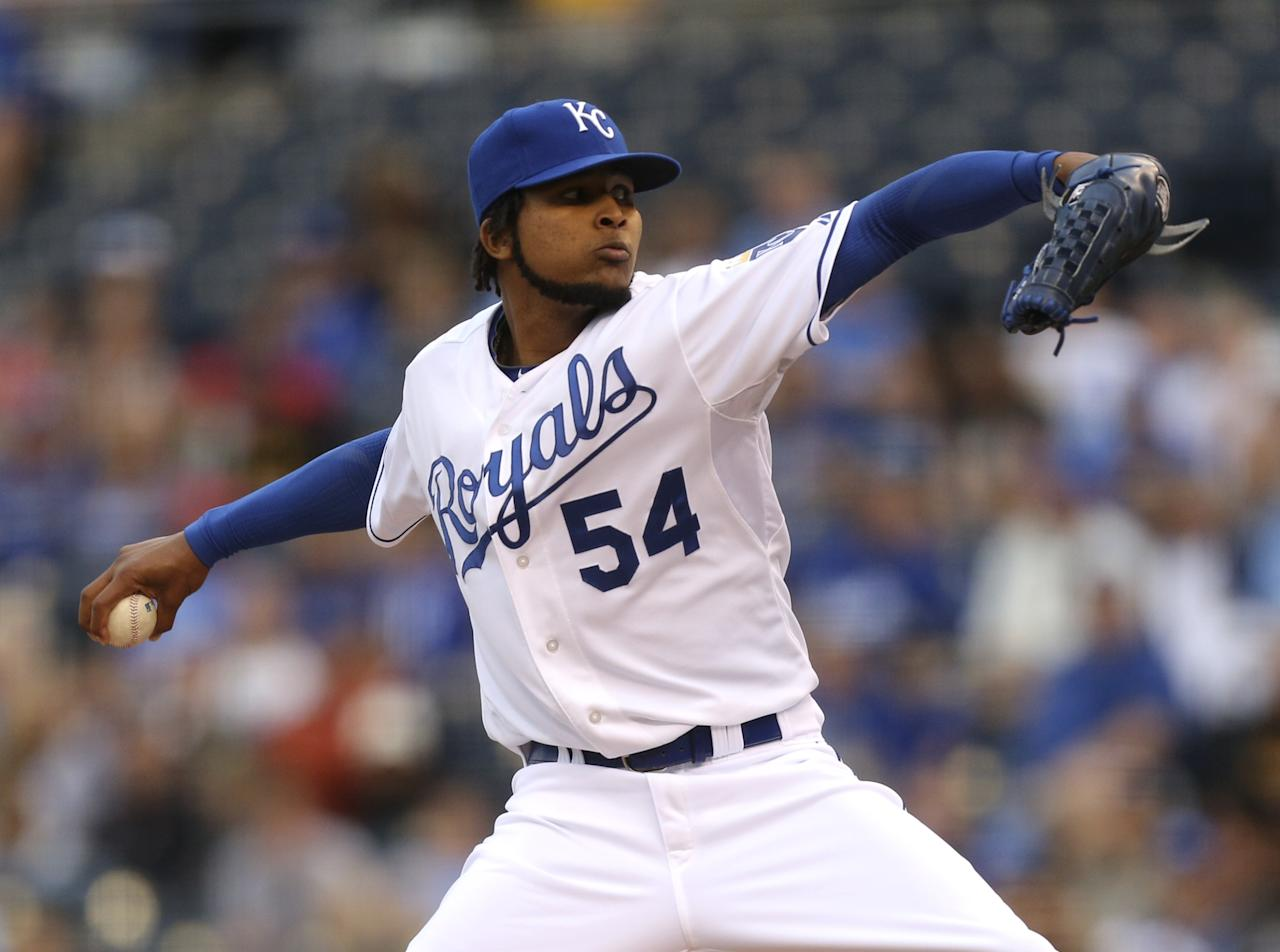KANSAS CITY, MO - APRIL 23:  Ervin Santana #54 of the Kansas City Royals pitches in the first inning against the Los Angeles Angels of Anaheim at Kauffman Stadium on April 23, 2012 in Kansas City, Missouri. (Photo by Ed Zurga/Getty Images)