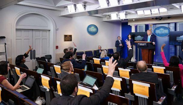 PHOTO: President Donald Trump speaks during the daily briefing on the novel coronavirus, COVID-19, in the Brady Briefing Room at the White House on April 7, 2020, in Washington. (Mandel Ngan/AFP via Getty Images)