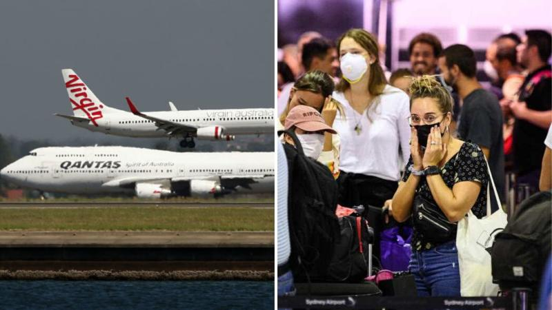 Virgin Australia and Qantas planes seen together on tarmac on the left, and travellers with masks on at an airport on the right.