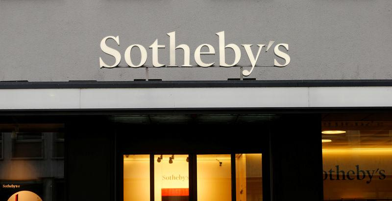 Logo of Sotheby's auction house is seen in Zurich