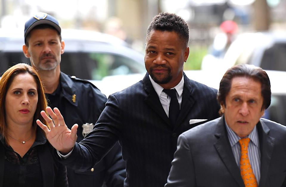 Actor Cuba Gooding Jr., (C) arrives for his trial on his sexual assault case on October 10, 2019, in New York City. (Photo by Johannes EISELE / AFP) (Photo by JOHANNES EISELE/AFP via Getty Images)