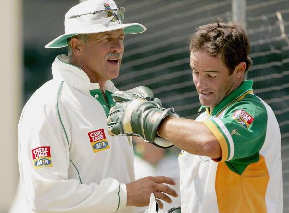 ANTIGUA - MARCH 28: (TOUCHLINE IMAGES ARE AVAILABLE TO CLIENTS IN THE UK, USA AND AUSTRALIA ONLY) Mark Boucher and coach Ray Jennings during the SA cricket team practice session at Jolly Harbour cricket ground on March 28, 2005 in Antigua, West Indies. (Photo by Touchline/Getty Images)