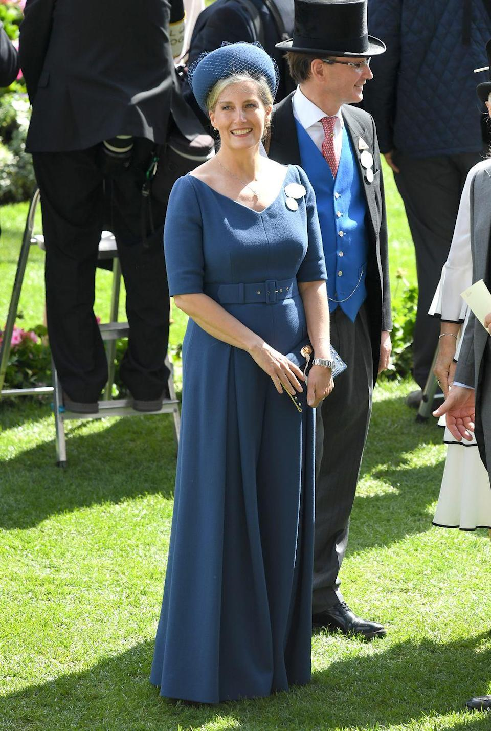 <p>Sophie, the Countess of Wessex made a bold statement at Ladies' Day at Royal Ascot with a striking navy jumpsuit. </p>