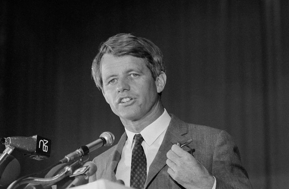 FILE - In this May 9, 1968 file photo, Sen. Robert F. Kennedy speaks to the delegates of the United Auto Workers at a convention hall in Atlantic City, N.J. Prosecutors for the first time are not opposing the release of Sirhan Sirhan. The 77-year-old prisoner on Friday, Aug. 27, 2021, faces his 16th parole hearing for fatally shooting Robert F. Kennedy in 1968. (AP Photo, File)