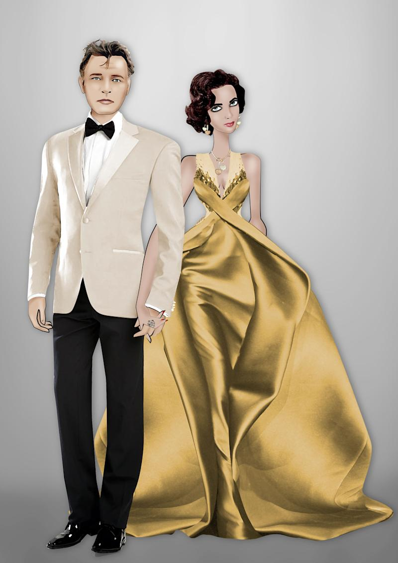 """This computer-generated image released by Armani shows animated images in the likeness of actors Richard Burton, left, and Elizabeth Taylor, in a gold Armani gown. There will be more gold to come this week at Thursday's amfAR gala, at the Cannes Film Festival which will showcase 40 of the world's top models in """"The Ultimate Gold Collection Fashion Show,"""" curated by Carine Roitfeld. (AP Photo/Armani, Lula)"""