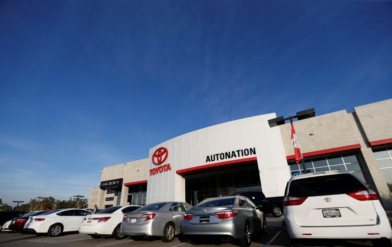 Vehicles for sale are pictured on the lot at AutoNation Toyota dealership in Cerritos
