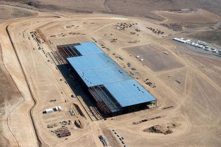 FILE PHOTO --  The Tesla Gigafactory is shown under construction outside Reno, Nevada