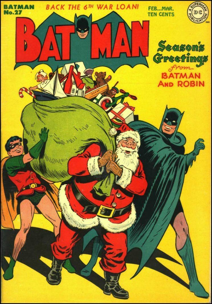 The Dynamic Duo in the Christmas spirit on the cover of Batman No. 27 in 1945 (DC)