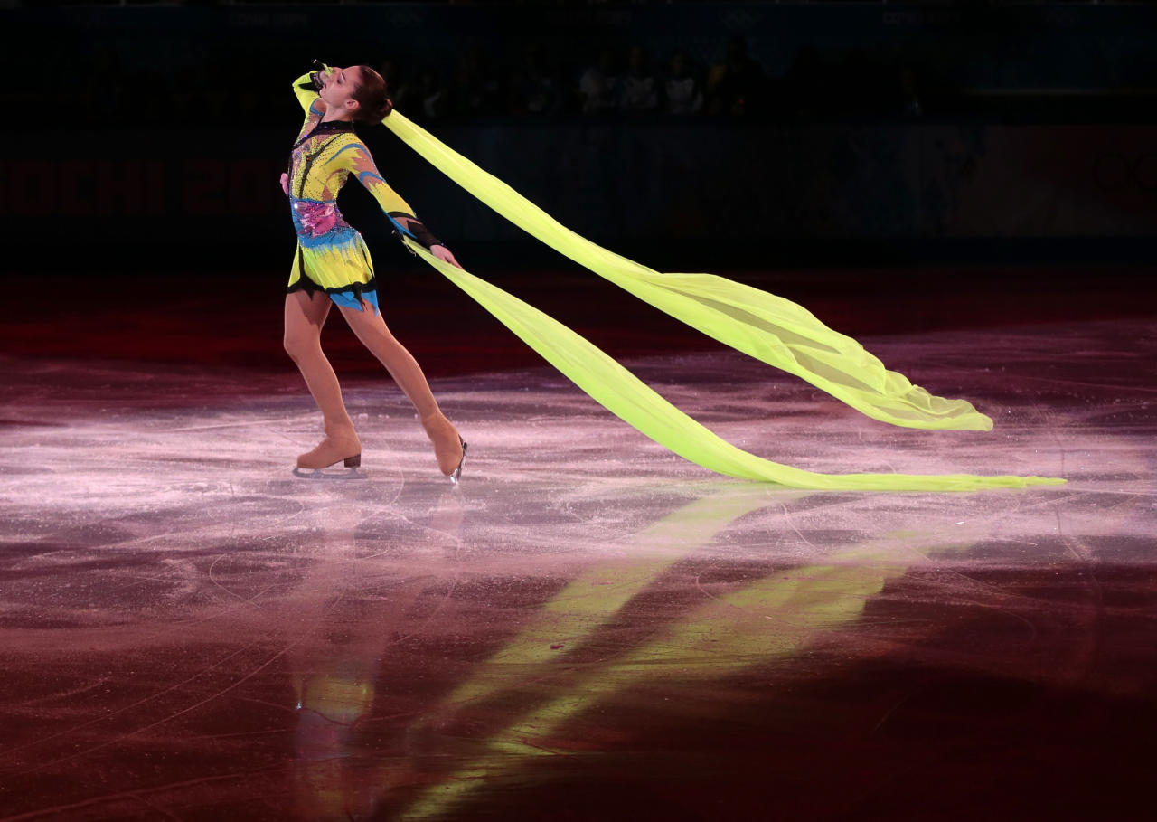 Adelina Sotnikova of Russia performs during the figure skating exhibition gala at the Iceberg Skating Palace during the 2014 Winter Olympics, Saturday, Feb. 22, 2014, in Sochi, Russia. (AP Photo/Ivan Sekretarev)