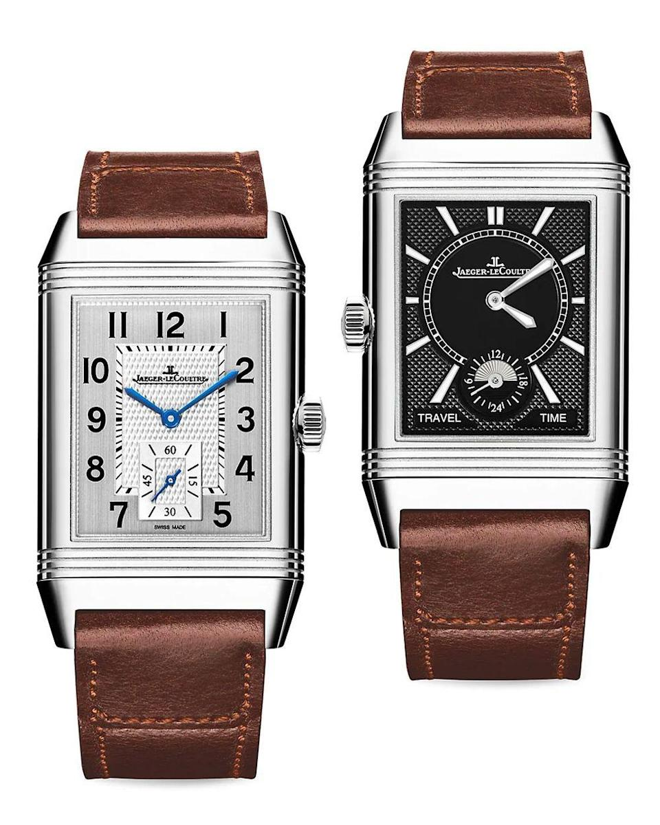 """<p><strong>Jaeger-LeCoultre</strong></p><p>saksfifthavenue.com</p><p><strong>$9600.00</strong></p><p><a href=""""https://go.redirectingat.com?id=74968X1596630&url=https%3A%2F%2Fwww.saksfifthavenue.com%2Fproduct%2Fjaeger-lecoultre-reverso-classic-large-stainless-steel--amp--leather-strap-watch-0400014694181.html&sref=https%3A%2F%2Fwww.townandcountrymag.com%2Fstyle%2Fjewelry-and-watches%2Fg14418271%2Fbest-mens-luxury-watches%2F"""" rel=""""nofollow noopener"""" target=""""_blank"""" data-ylk=""""slk:Shop Now"""" class=""""link rapid-noclick-resp"""">Shop Now</a></p><p>A slim, rectangular watch with a midcentury modern aesthetic. This reversible watch has two separate watch faces that allow you to keep track of two time zones. </p><p>Case size: 28.3 mm</p>"""