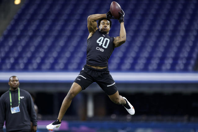 Southern Illinois defensive back Jeremy Chinn runs a drill during the NFL scouting combine at Lucas Oil Stadium on Feb. 29, 2020 in Indianapolis, Indiana. (Photo by Joe Robbins/Getty Images)