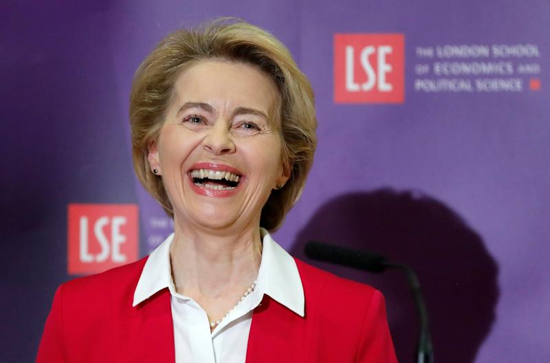 European Commission President Ursula Von der Leyen laughs as she delivers a speech at the London School of Economics in London: AP