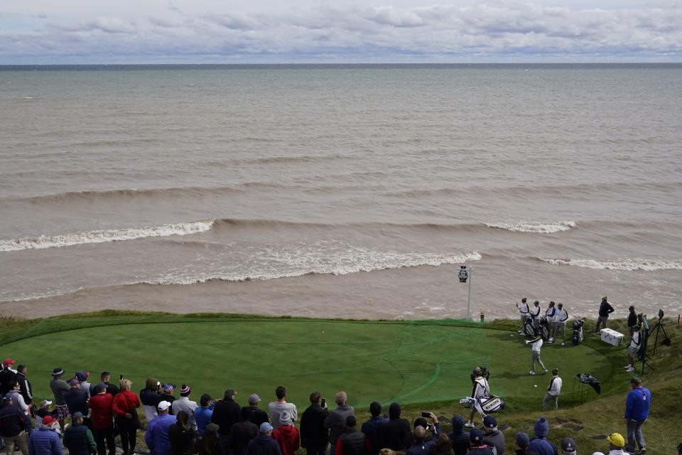 Team Europe's Tommy Fleetwood hits a tee shot on the seventh hole during a practice day at the Ryder Cup at the Whistling Straits Golf Course Wednesday, Sept. 22, 2021, in Sheboygan, Wis. (AP Photo/Jeff Roberson)
