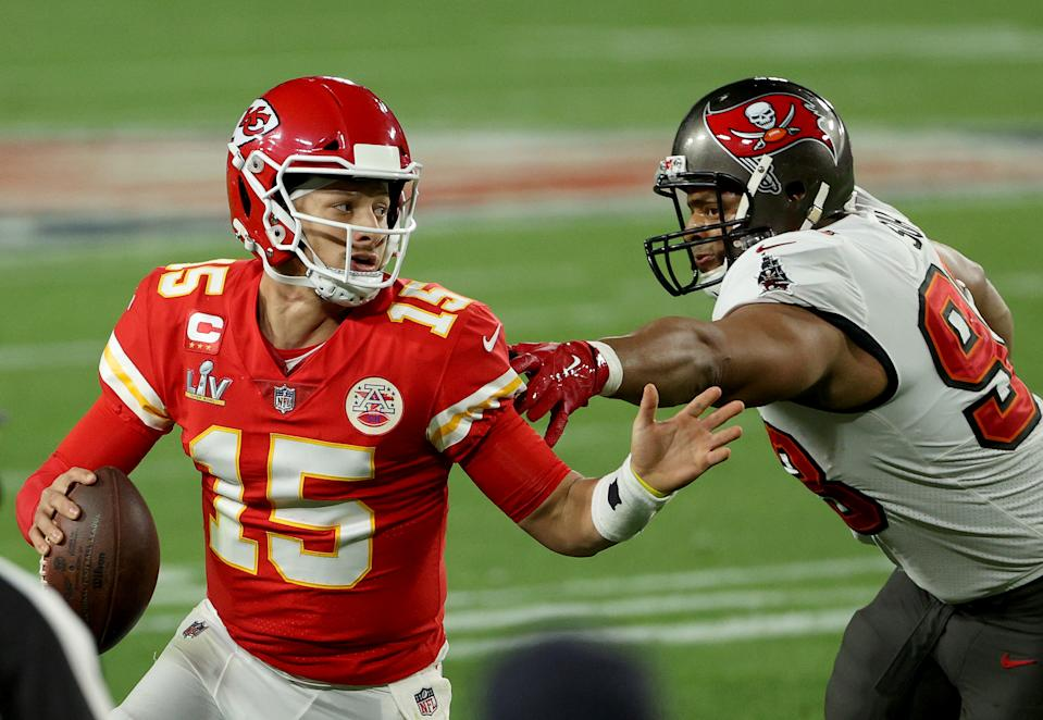Patrick Mahomes was under duress on pretty much every snap of Super Bowl LV, and it didn't have to be that way. (Photo by Patrick Smith/Getty Images)