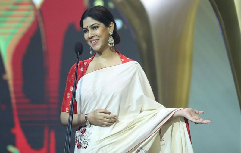 Sakshi Tanwar accepting the award on behalf of the cast and crew of Indian film Dangal. Source: Getty