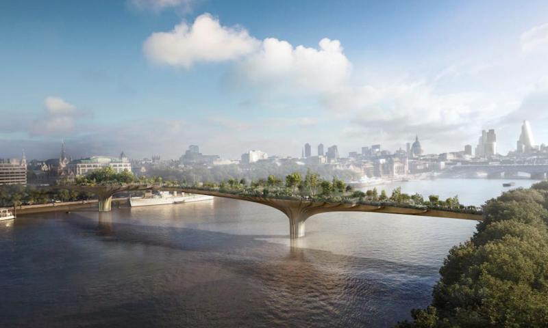 An artist's impression of the proposed garden bridge across the River Thames.