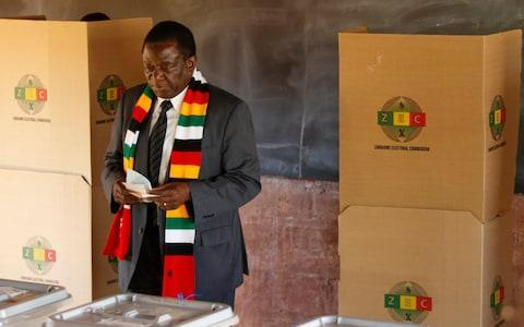 <span>Emmerson Mnangagwa cast his ballot in Kwekwe, 100 miles southwest of Harare</span> <span>Credit: Xinhua / Barcroft Images </span>