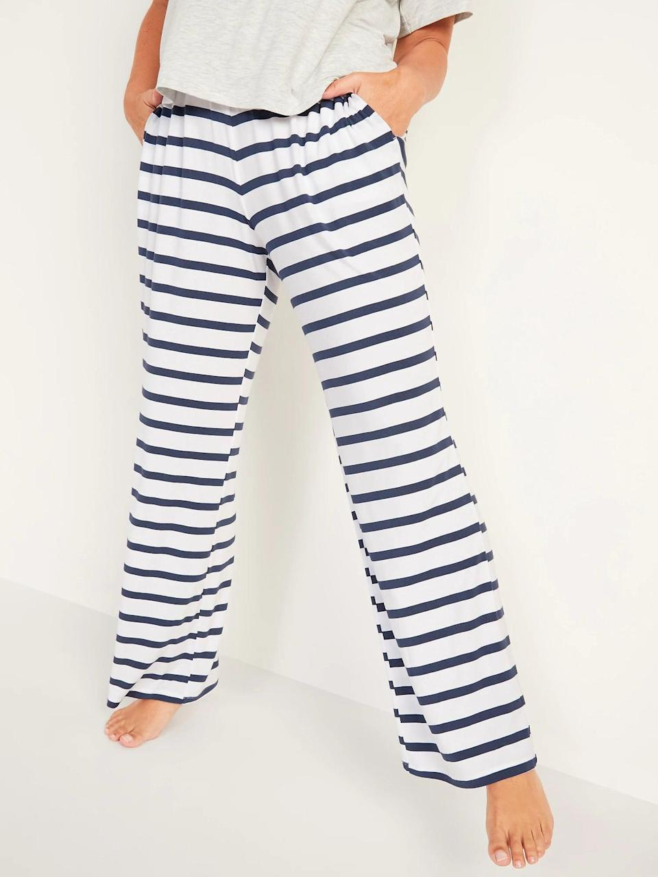 <p>When you want traditional PJ bottoms, there are tons of patterns of these <span>Old Navy Mid-Rise Sunday Sleep Ultra-Soft Pajama Pants</span> ($10-$20, originally $20). They come in regular, tall, and petite lengths so you won't trip when you get up to go to the bathroom either.</p>