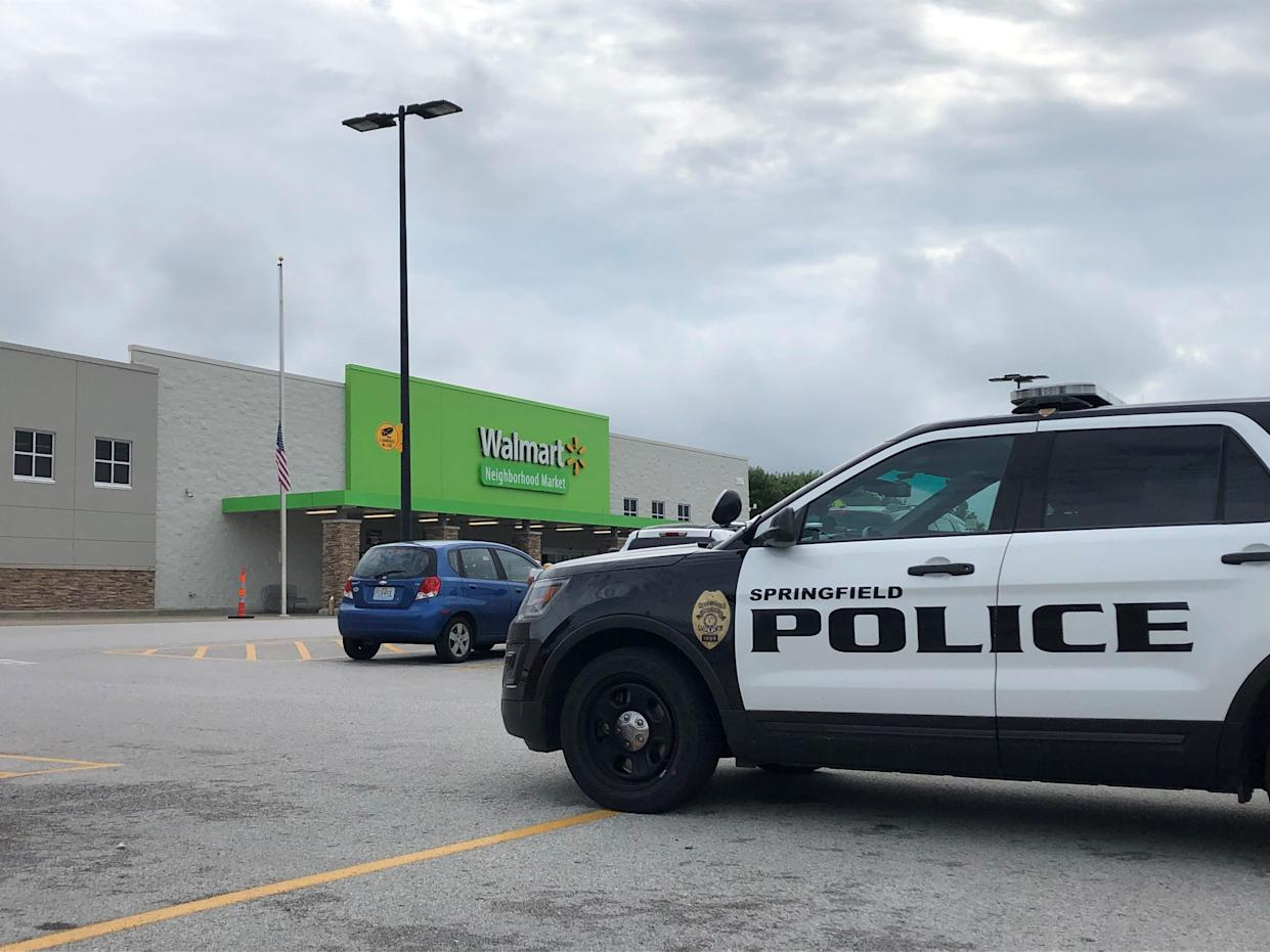Police in Springfield, Missouri, responded to the Walmart Neighborhood Market on Republic Road in Springfield on Thursday, Aug. 8, 2019, after reports of a man with a loaded