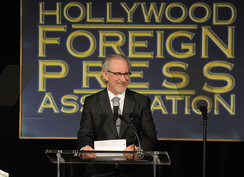 Steven Spielberg speaks at the Hollywood Foreign Press Association luncheon at the Beverly Hills Hotel on Thursday, Aug. 9, 2012, in Beverly Hills, Calif. (Photo by Jordan Strauss/Invision/AP)