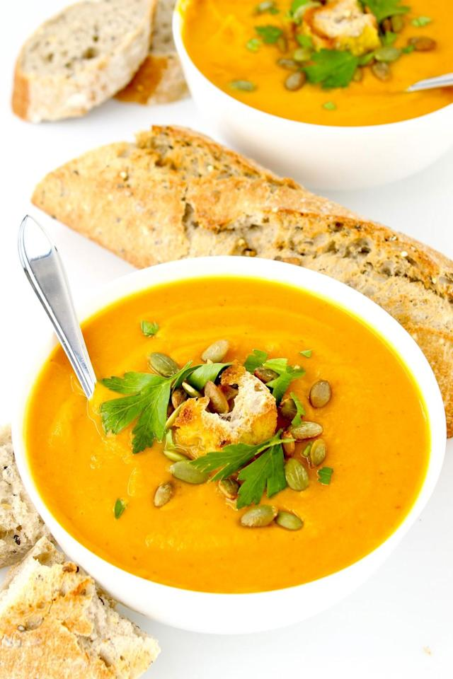 """<p>Blend two mouthwatering fall flavors into one hearty soup, and you wont want to sip on anything else for the rest of the season. </p><p><strong>Get the recipe at <a href=""""http://plantifuleating.ca/turmeric-sweet-potato-pumpkin-soup/"""" target=""""_blank"""">Plantiful Eating</a>. </strong></p><p><strong><a class=""""body-btn-link"""" href=""""https://www.amazon.com/Cook-Home-NC-00335-Stainless-Saucepot/dp/B00EZS5PEO/?tag=syn-yahoo-20&ascsubtag=%5Bartid%7C10050.g.3806%5Bsrc%7Cyahoo-us"""" target=""""_blank"""">SHOP SOUP POT</a><br></strong></p>"""