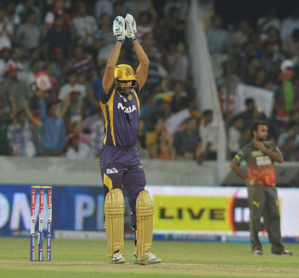KKR batsman Yusuf Pathan in action during the match between Sunrisers Hyderabad and Kolkata Knight Riders at Rajiv Gandhi International Cricket Stadium Uppal in Hyderabad (Deccan), May 19, 2013. (Photo:IANS)