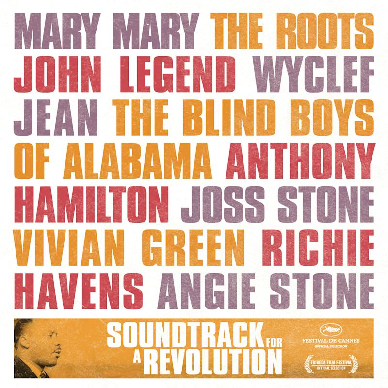 """In ths CD cover image released by Entertainment One, the """"Soundtrack for the Revolution,"""" by various artists including; Mary Mary, The Roots, John Legend, Wyclef Jean, The Blind Boys of Alabama, Anthony Hamilton, Joss Stone, Vivian Greem, Richie Havens and Angie Stone, is shown. (Entertainment One)"""