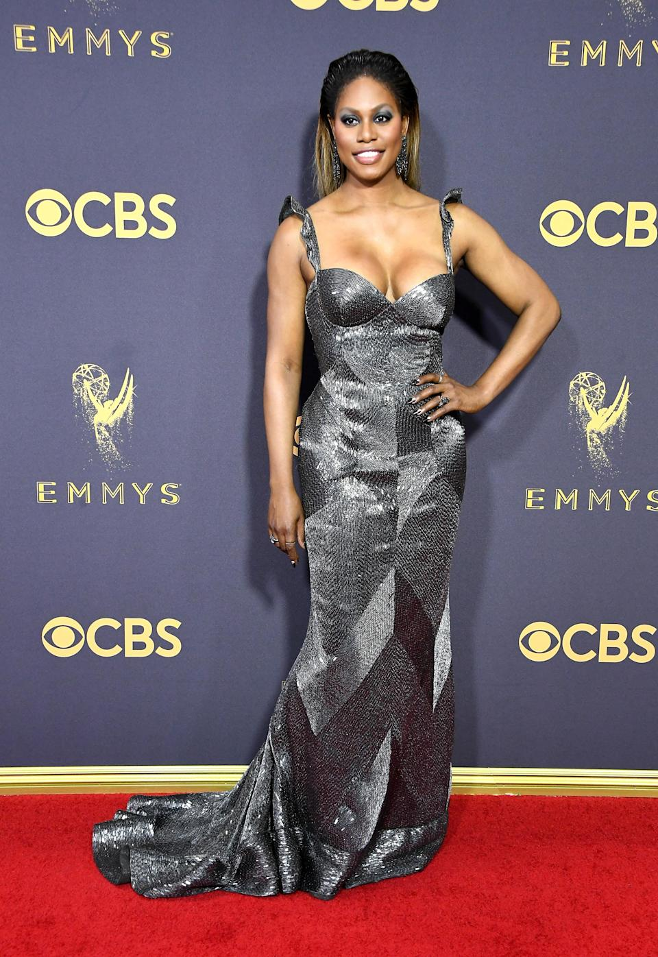 <p>Laverne Cox attends the 69th Primetime Emmy Awards at Microsoft Theater on Sept. 17, 2017, in Los Angeles. (Photo: Getty Images) </p>