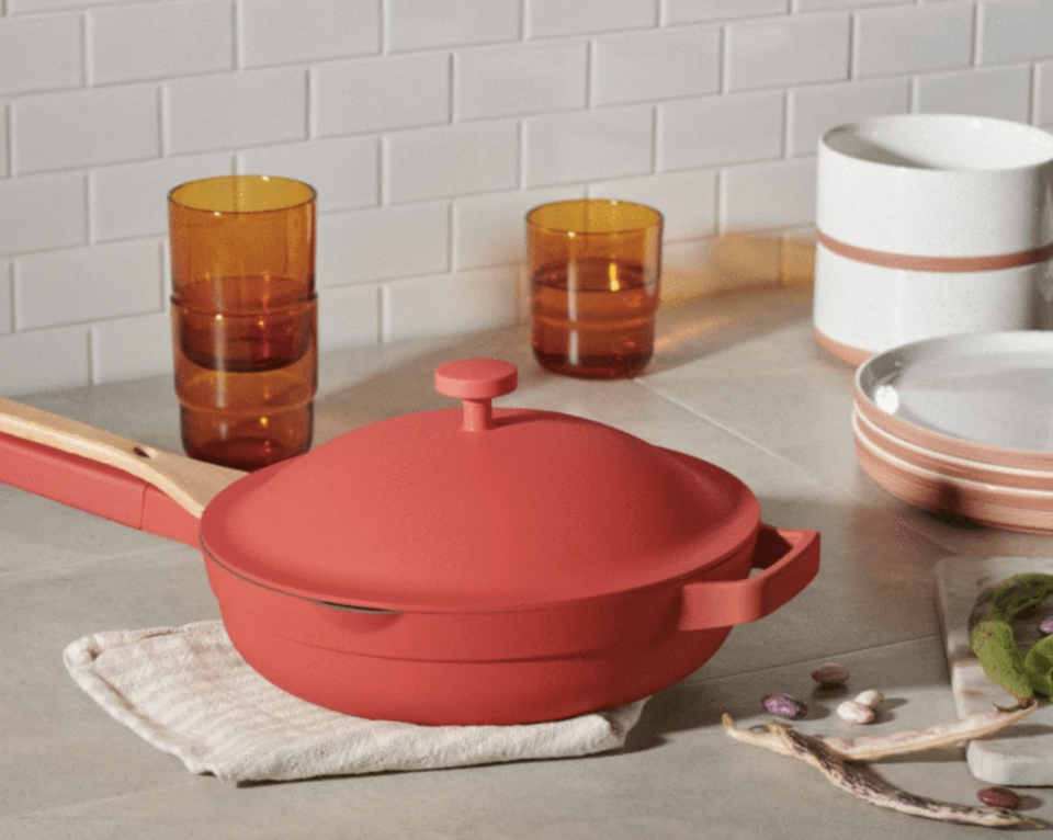 The cult-favourite Always Pan from Our Place in red heat is on sale today