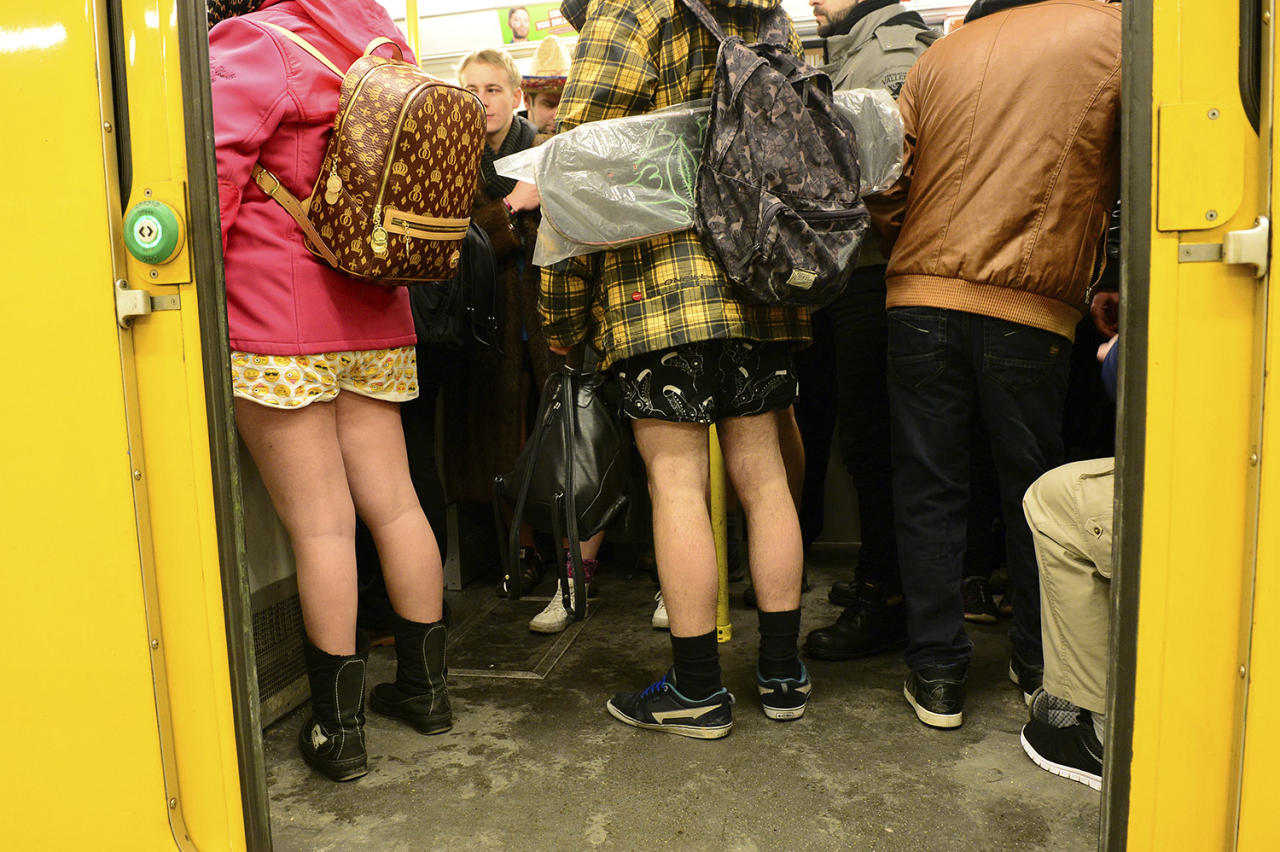 <p>Young people with no pants ride the subway during the No Pants Subway Ride in Berlin on Jan. 8. What started in New York City in 2002 with just a handful of people has blossomed into a worldwide movement involving thousands. No Pants rides are scheduled Sunday in about 50 cities across the U.S., Canada, Europe and Australia. (Maurizio Gambarini/dpa via AP) </p>