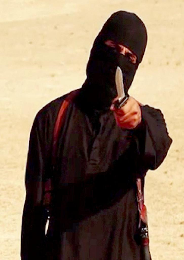 """Image grab from video released by the Islamic State on September 2, 2014, purportedly shows """"Jihadi John"""", the masked Islamic State militant apparently responsible for the beheading of western hostages including journalist James Foley"""