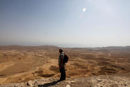 Oren Gutfeld, an Israeli archaeologist at Hebrew University in Jerusalem, looks on towards the desert area above tunnels, he believes are related to the Copper Scroll, near the Qumran area, in the Israeli-occupied West Bank October 14, 2018. Picture taken October 14, 2018. REUTERS/Ronen Zvulun