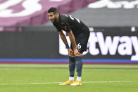 Manchester City's Riyad Mahrez reacts during the English Premier League soccer match between West Ham and Manchester City, at the London Olympic Stadium Saturday, Oct. 24, 2020. (Justin Tellis, Pool via AP)