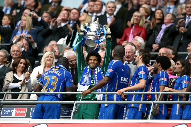 James, centre, won the FA Cup with Portsmouth in 2008