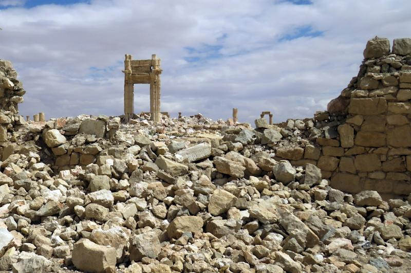 The remains of the Temple of Bel in the historical city of Palmyra after it was blown up by Islamic State group jihadists