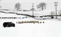 A farmer with a flock of sheep in a snow covered field near Auchterarder, Perthshire. Heavy snow and freezing rain is set to batter the UK this week, with warnings issued over potential power cuts and travel delays. (Photo by Andrew Milligan/PA Images via Getty Images)