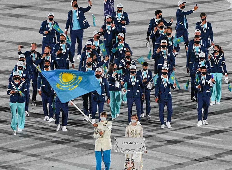<p>Kazakhstan also stood out in bright blue pants. </p>