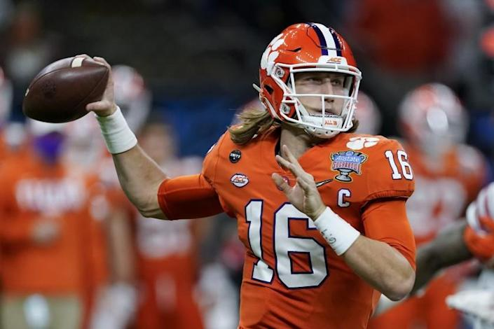 FILE - In this Friday, Jan. 1, 2021 file photo, Clemson quarterback Trevor Lawrence passes against Ohio State .