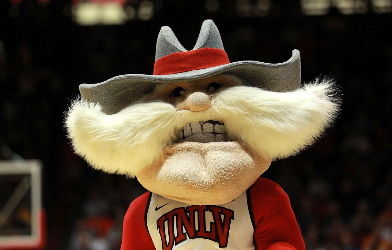 ALBUQUERQUE, NM - MARCH 15: The UNLV Rebels mascot walks on the court during the first half against the Colorado Buffaloes during the second round of the 2012 NCAA Men's Basketball Tournament at The Pit on March 15, 2012 in Albuquerque, New Mexico.  (Photo by Ronald Martinez/Getty Images)