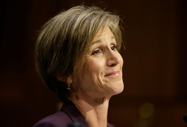 Former acting Attorney General Sally Yates arrives to testify before a Senate Judiciary Committee hearing on Russian interference in the 2016 U.S. election on Capitol Hill on May 8, 2017.