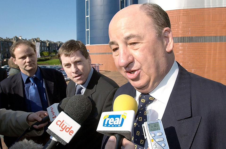 Rangers Vice-Chairman John McClelland (right) and Celtic Chief-Executive Iain McLeod arrive at Hampden Park, Glasgow, Scotland, for a meeting of the clubs in the Scottish Premier League to discuss a future TV sponsorship deal.   *  A stalemate has already occurred over the live TV coverage of games next term after Rangers and Celtic both rejected proposals for an SPL TV channel at a meeting.   (Photo by Ben Curtis - PA Images/PA Images via Getty Images)