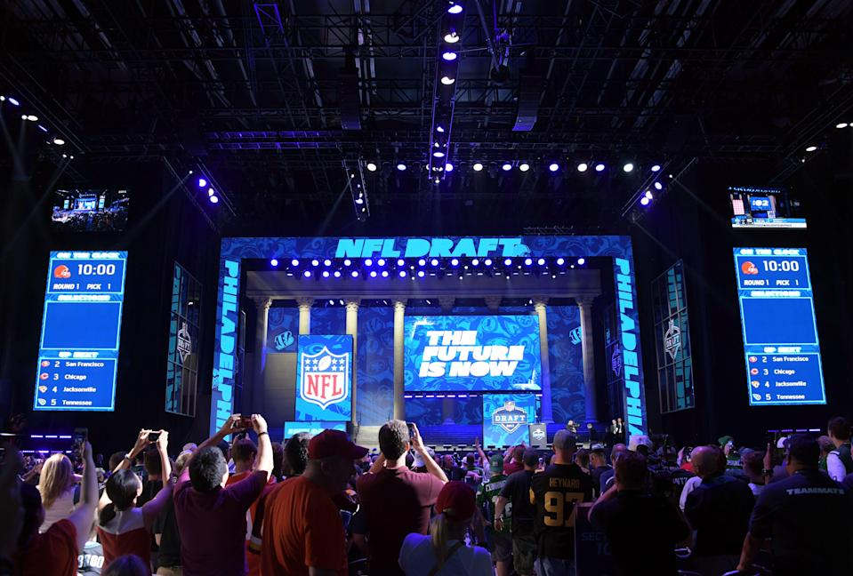 A general view of the draft theater during the first round the 2017 NFL draft.