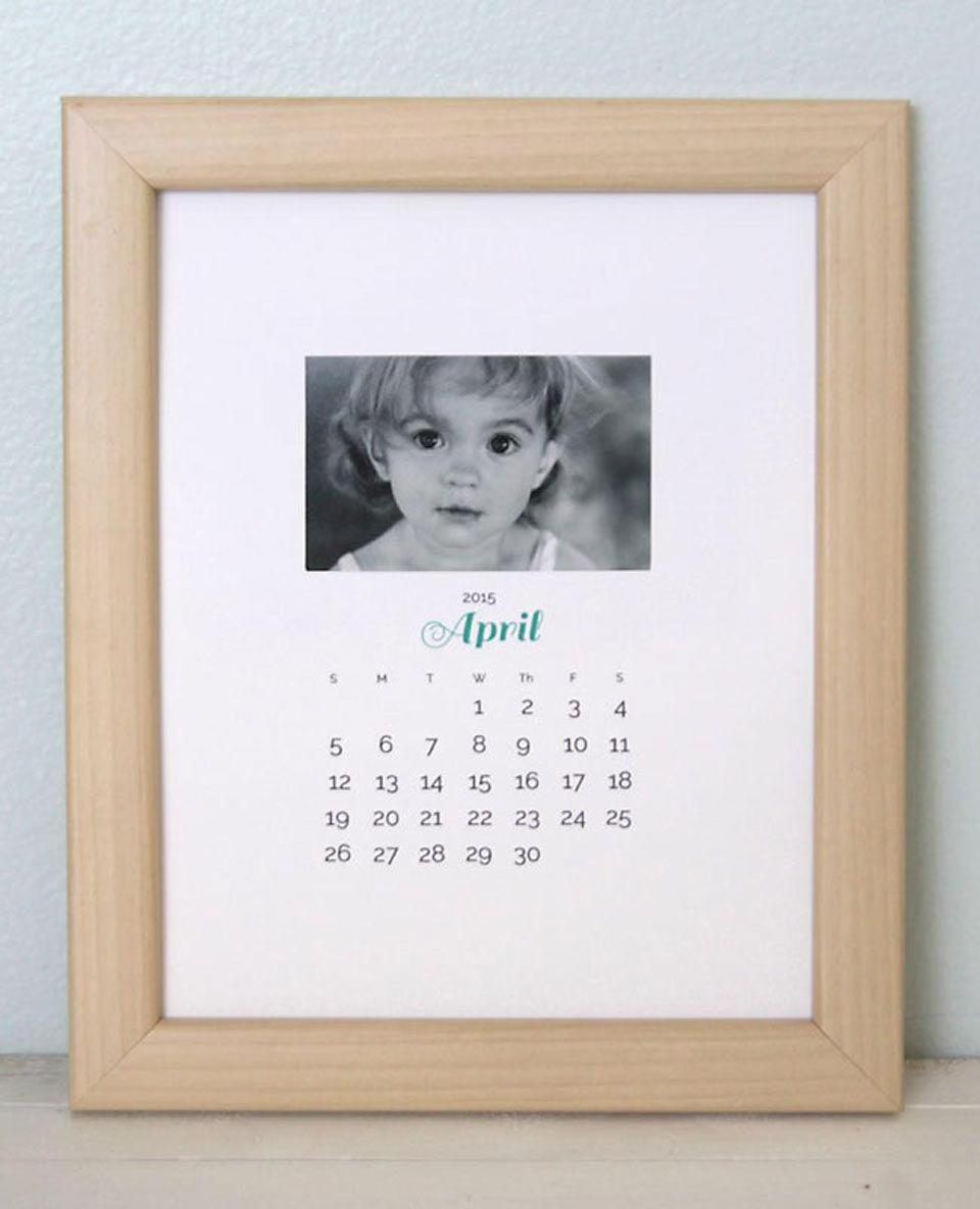 """<p>Blogger Autumn used her computer to create these printable PDF calendar pages—place them in a frame so your grandma can switch them out each month. </p><p><strong>Get the tutorial at <a href=""""http://www.itsalwaysautumn.com/2014/04/21/diy-photo-calendar-gift-idea-giveaway.html"""" rel=""""nofollow noopener"""" target=""""_blank"""" data-ylk=""""slk:It's Always Autumn"""" class=""""link rapid-noclick-resp"""">It's Always Autumn</a>.</strong></p>"""