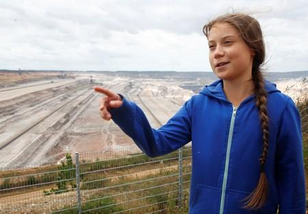 """Fridays for Future"" climate activist Thunberg at open-cast mine of Hambachg near Cologne"