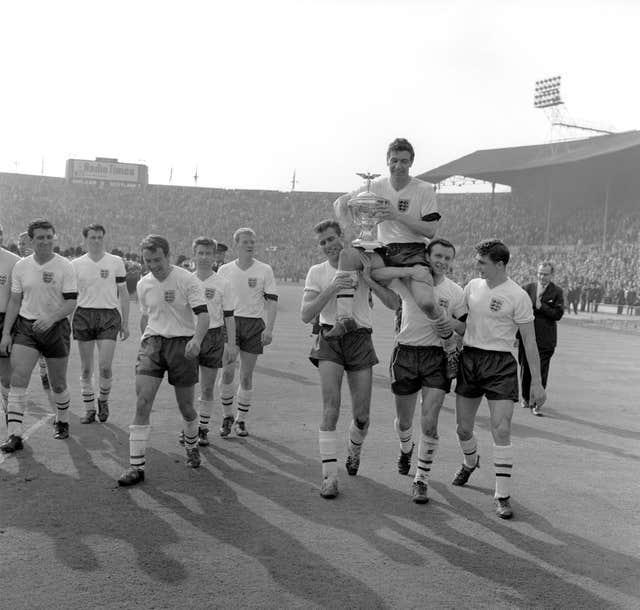 Jimmy Greaves, third from the left, with the victorious England team after the 1961 Home International Championship