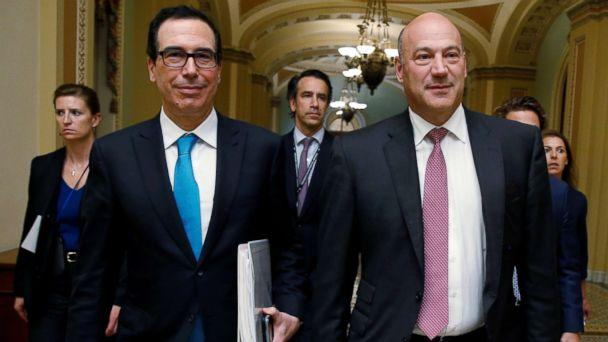 PHOTO: Secretary of the Treasury Steven Mnuchin and Director of the National Economic Council Gary Cohn walk after meeting with Republican law makers about tax reform on Capitol Hill, Sept. 12, 2017. (Joshua Roberts/Reuters)